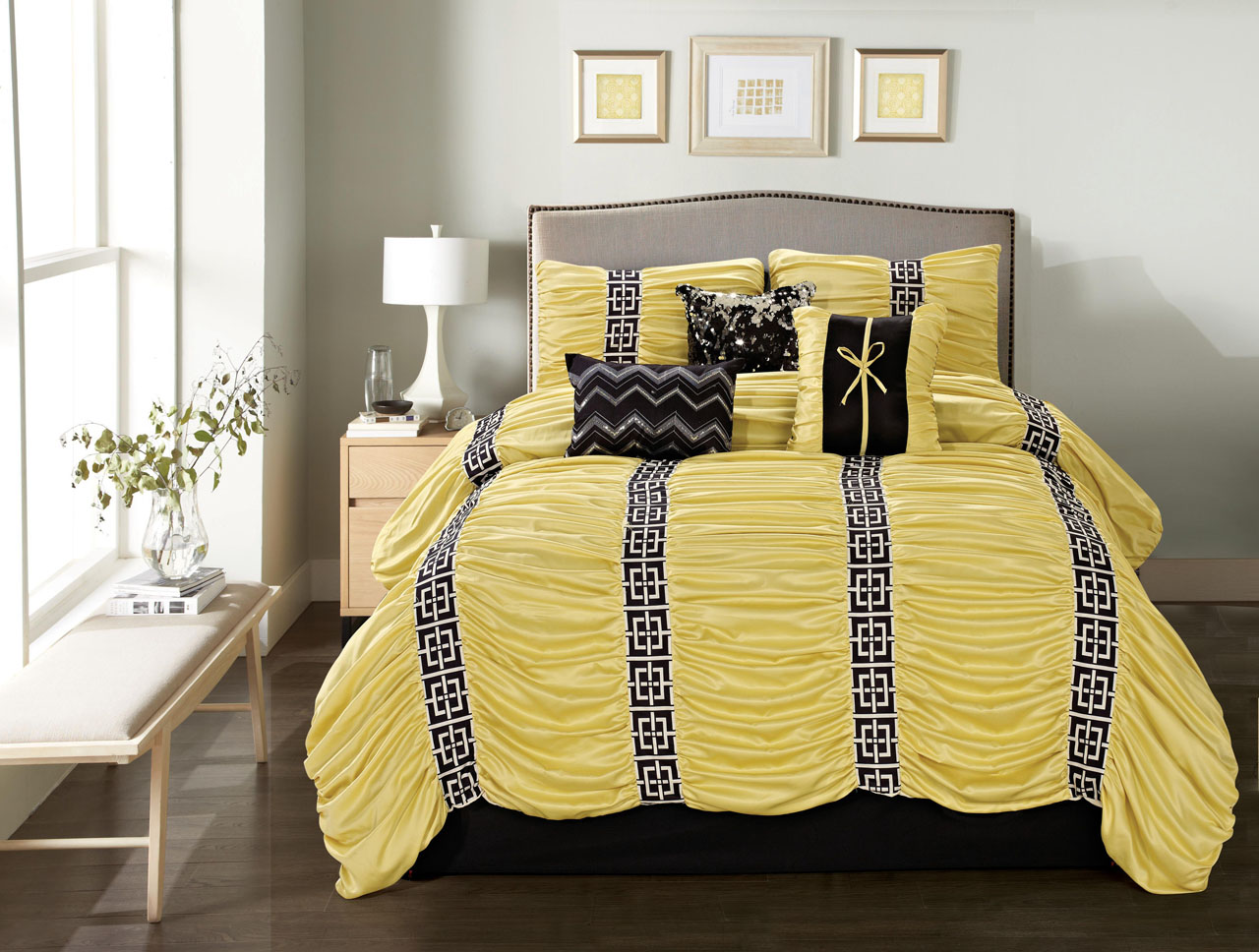 Yellow and black bedding sets - 7 Piece Queen Harley Yellow Black Comforter Set