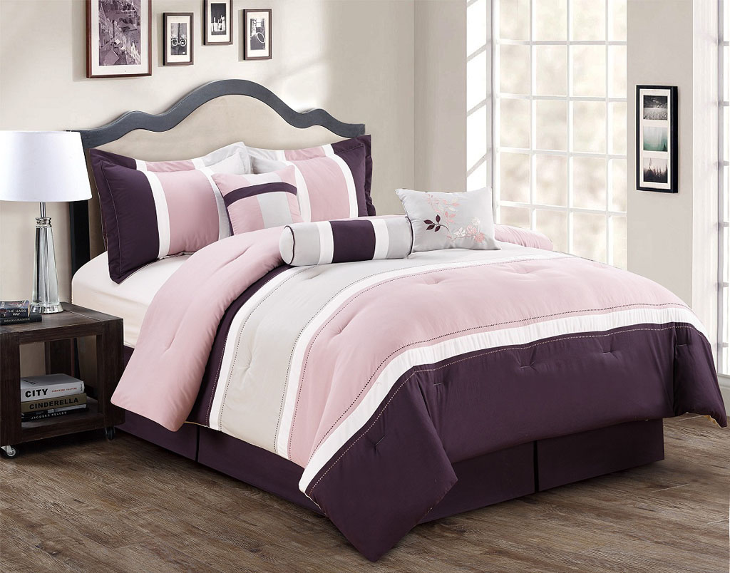 7 Piece Burgundy/Coffee/Black Comforter Set