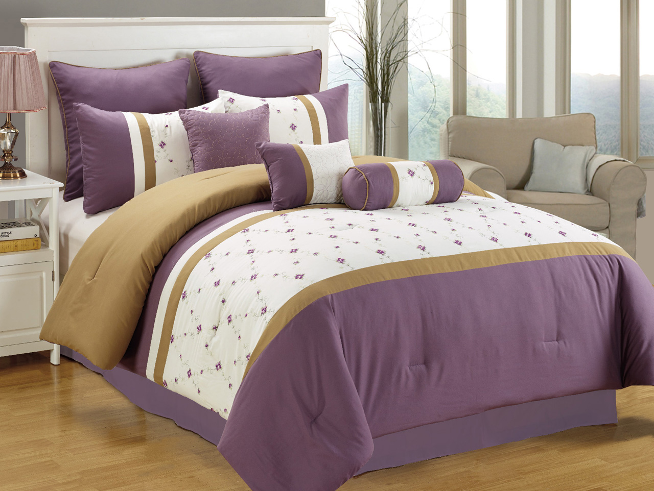 7 Piece King Purple/White/Taupe Embroidered Comforter Set