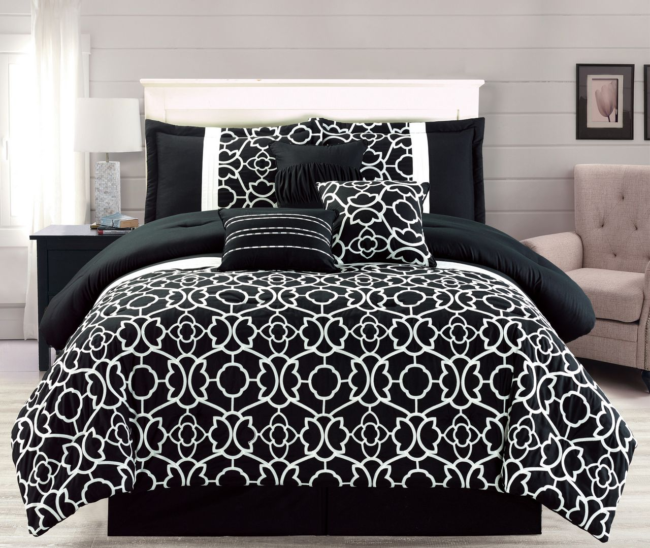 7 Piece Ladera Black Comforter Set