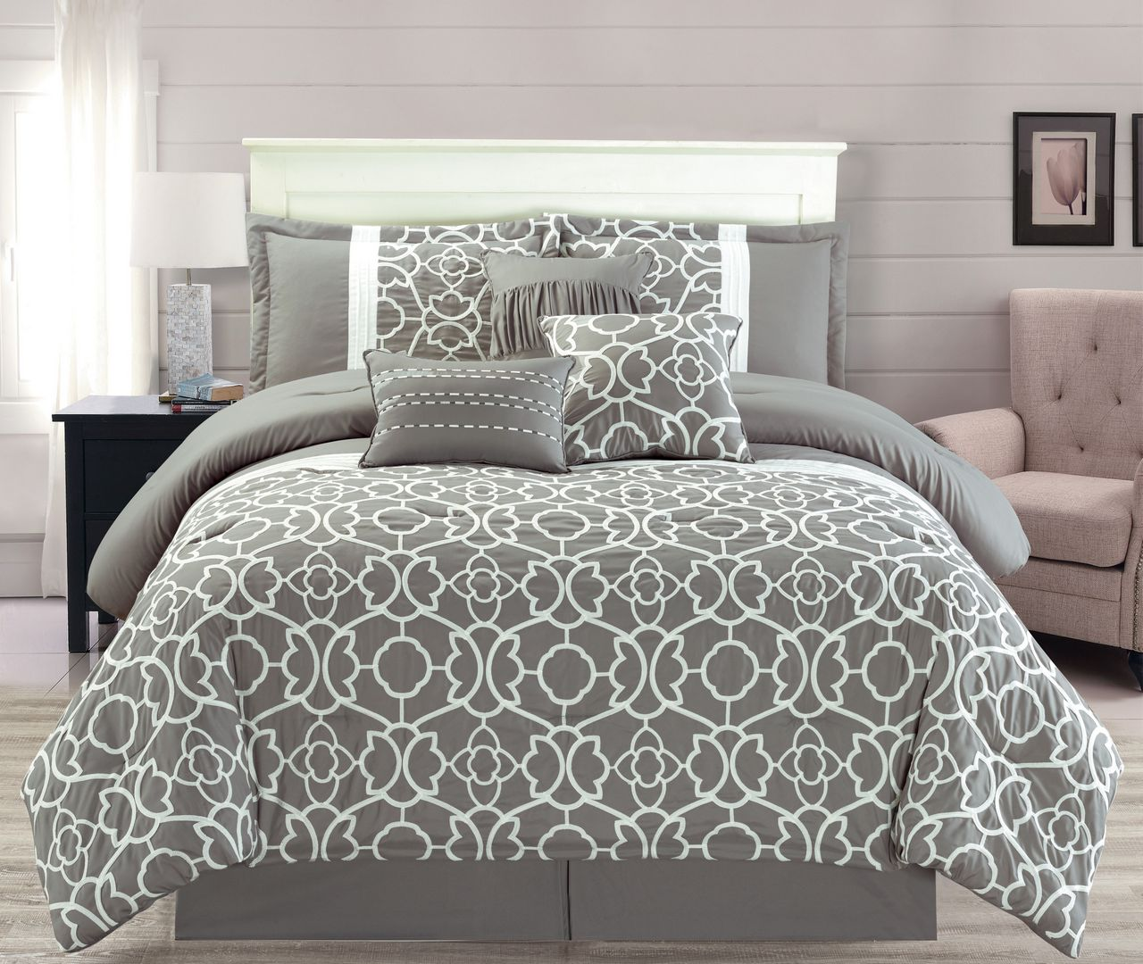 Image result for 7 Piece Ladera Gray Comforter Set King