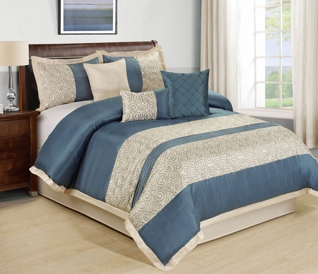 7 Piece Liverpool Blue/Beige Comforter Set