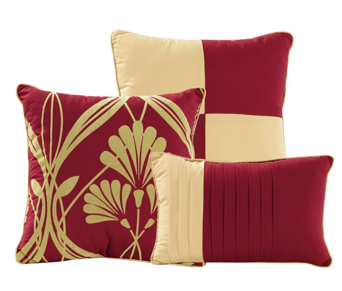 11 Piece Perris Burgundy Gold Bed In A Bag Set
