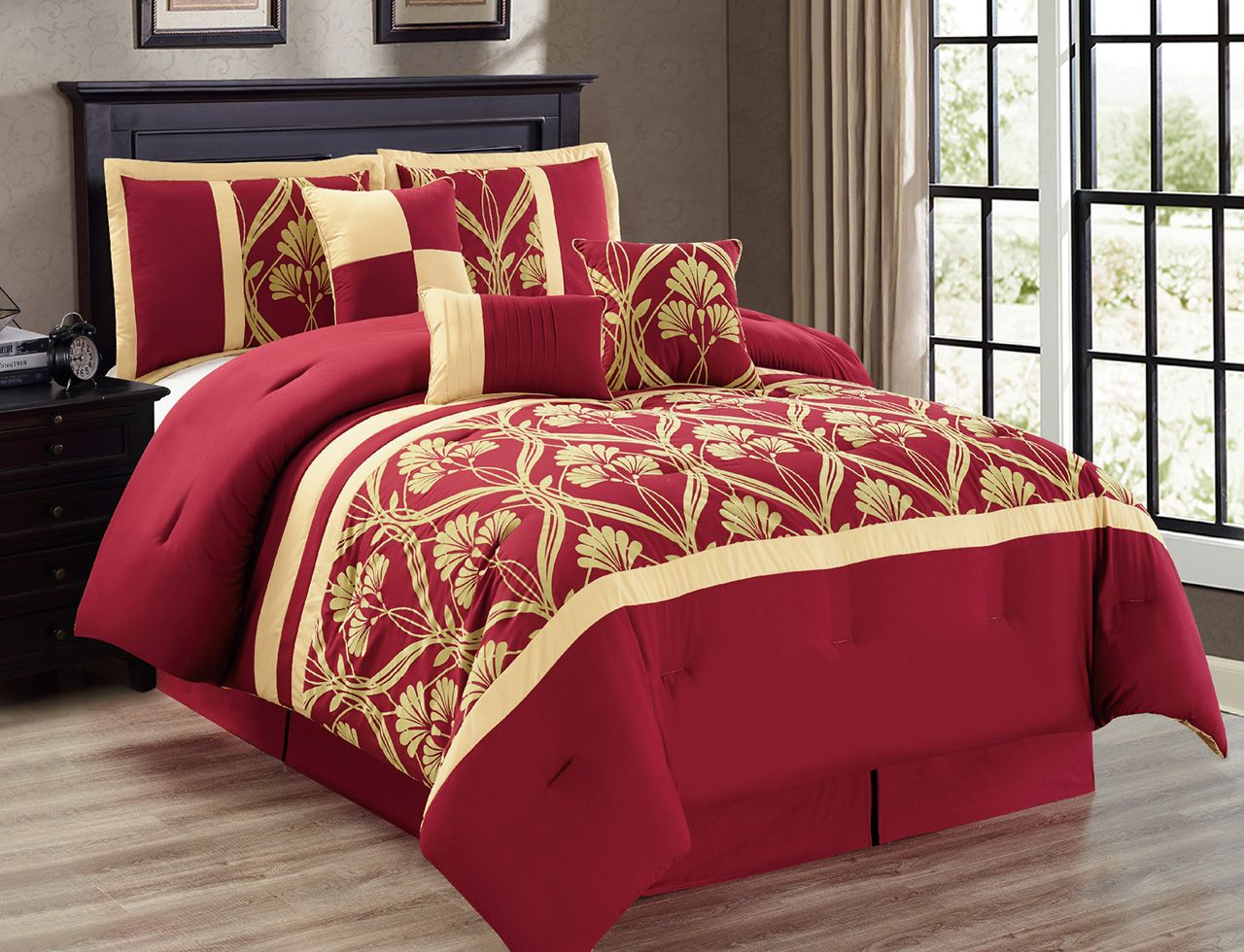 7 Piece Perris Burgundy Gold Comforter Set