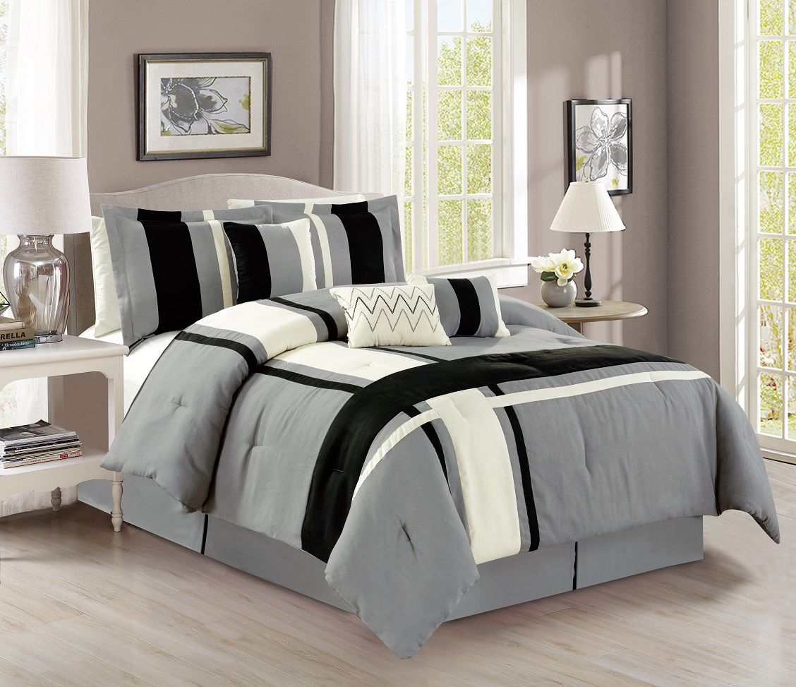 black long comforter walmart fur set com ip zone bedding your