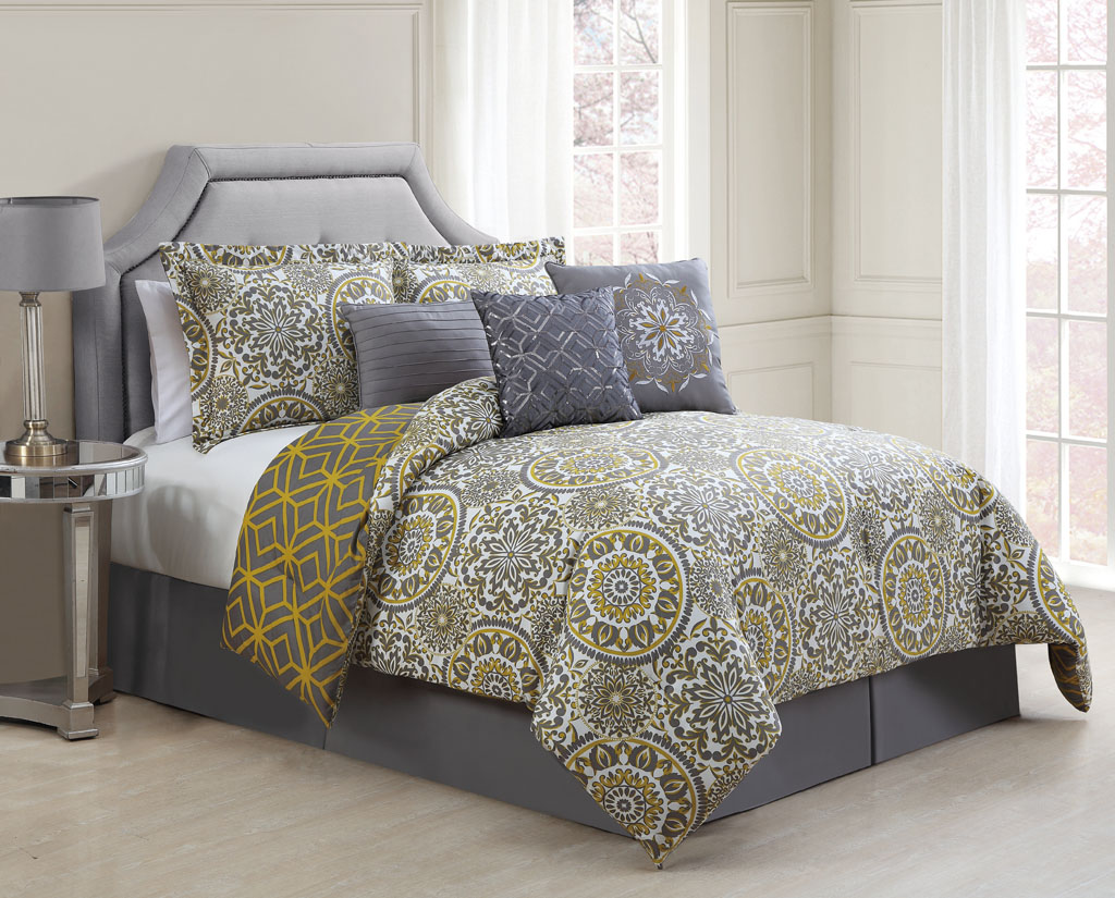 7 piece jezebel gray yellow reversible comforter set. Black Bedroom Furniture Sets. Home Design Ideas