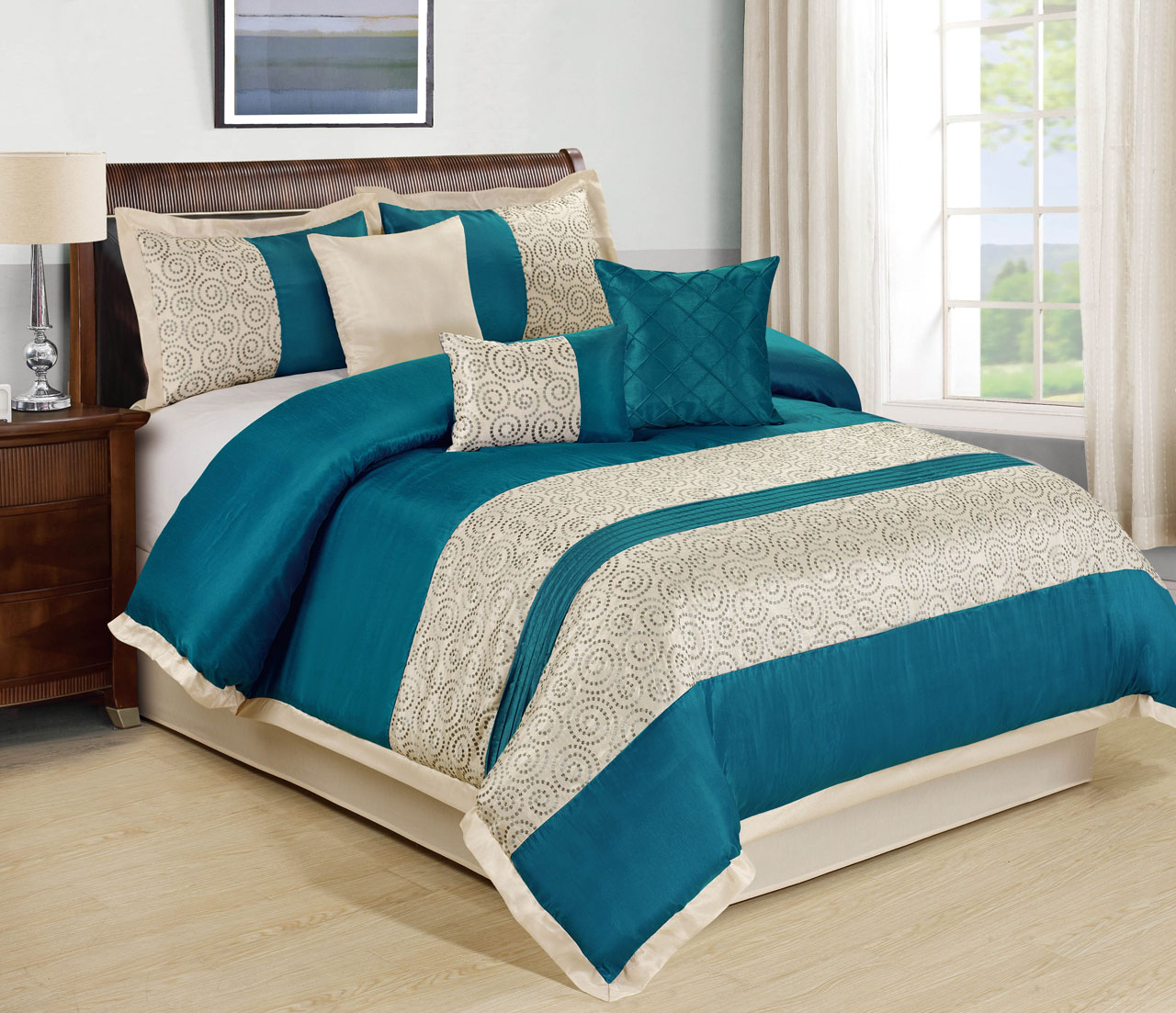 7 piece liverpool teal beige comforter set Teal bedding sets