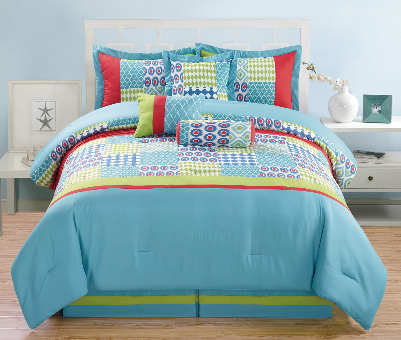 7 piece queen matrix comforter set