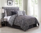 7 Piece Minka Gray/Purple Reversible Comforter Set