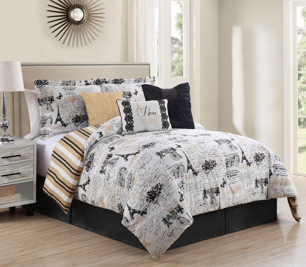 7 piece oh la la reversible comforter set - Bedroom sheets and comforter sets ...