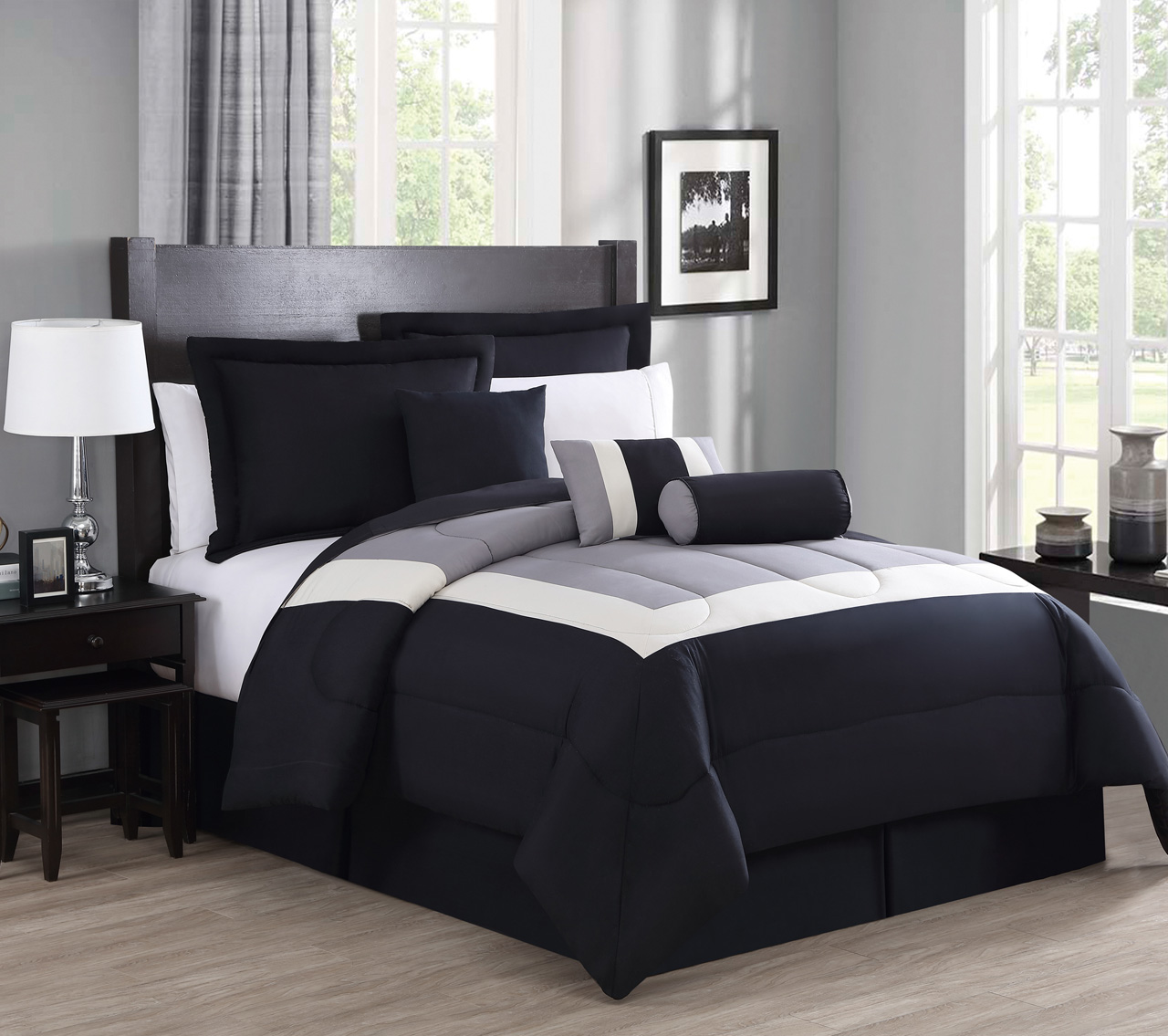 7 Piece Rosslyn Black Gray Comforter Set