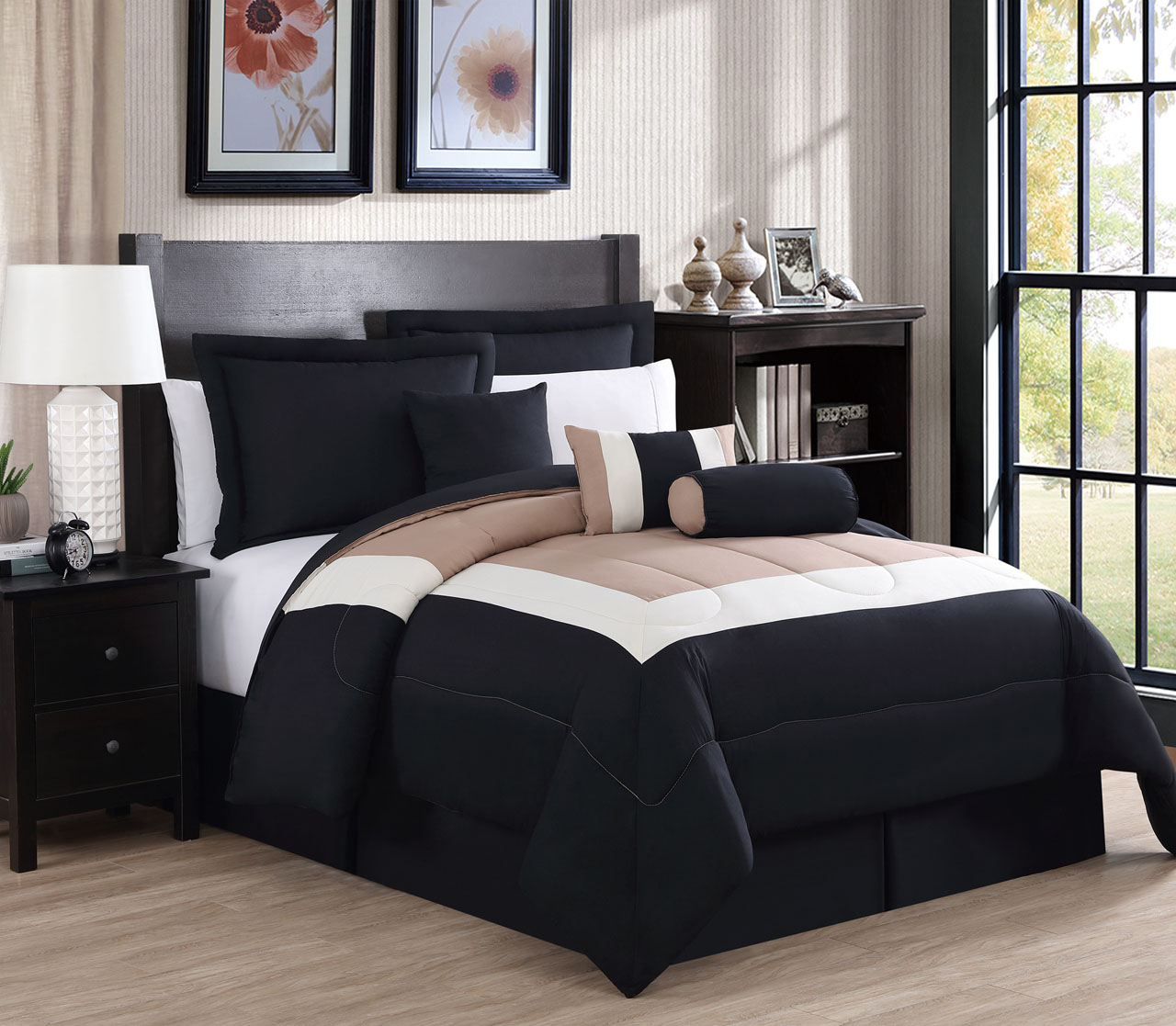 7 piece rosslyn black taupe comforter set for Black white taupe bedroom