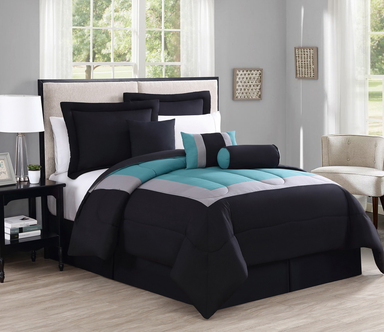 434000e3a82 7 Piece Queen Rosslyn Black Teal Comforter Set