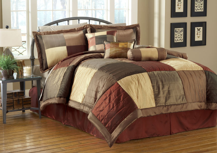7 Piece Sequoia Burgundy Gold Brown Comforter Set Queen