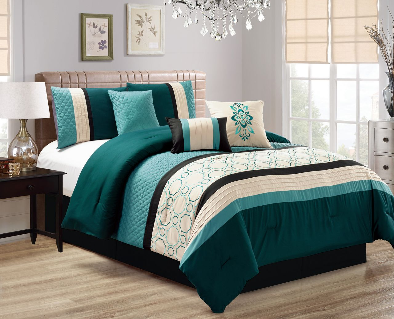 Piece Quilted Geometric Embroidered TealIvoryBlack Comforter Set - Black and teal comforter sets