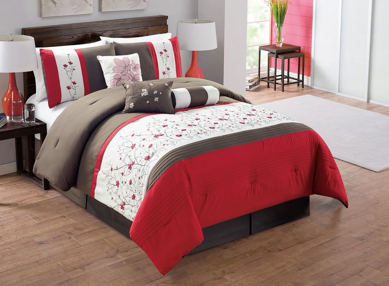 7 Piece Red/Chocolate/Ivory Embroidered Comforter Set Queen