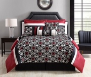7 Piece Stefani Red/Black Comforter Set