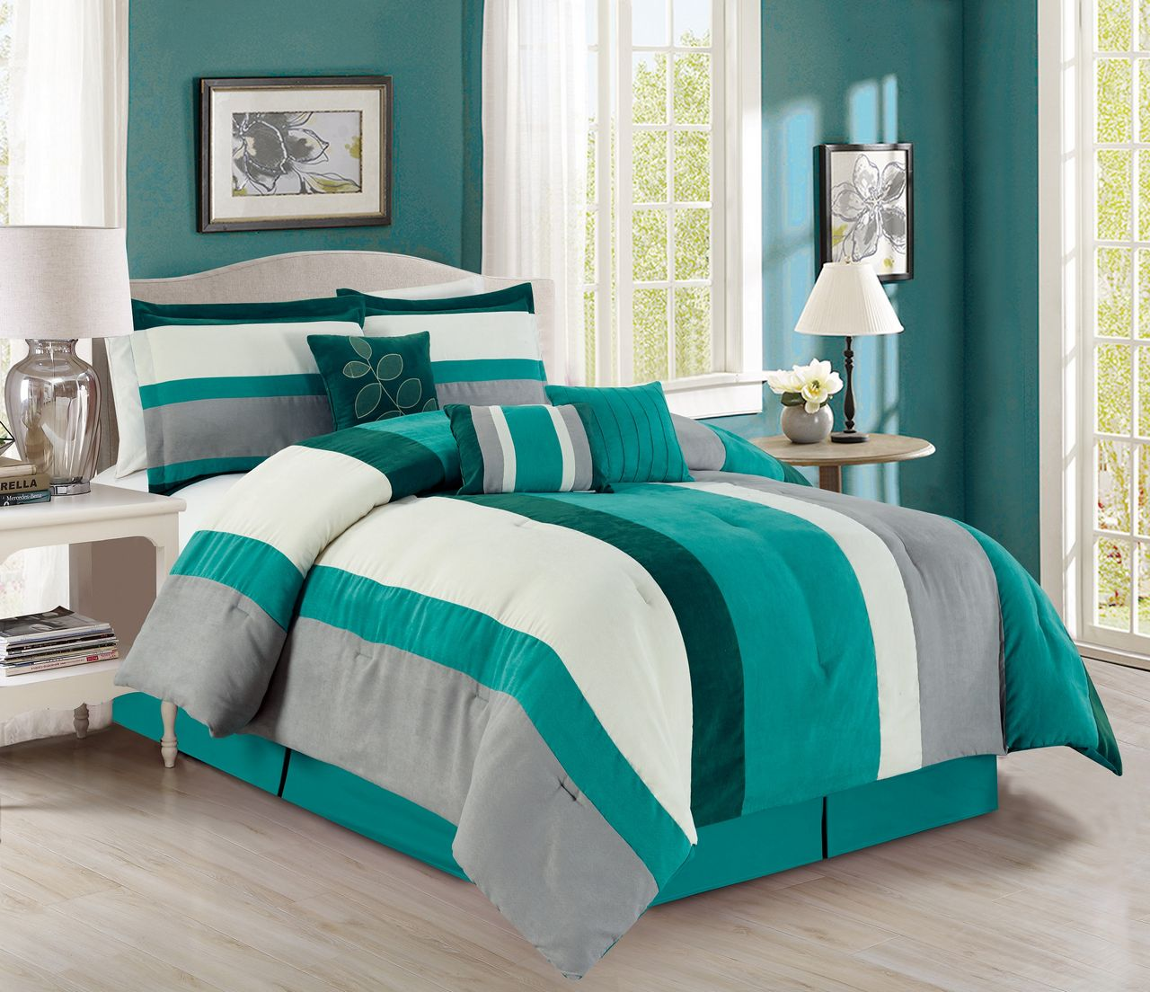 7 Piece Stripe Micro Suede Teal Ivory Gray Comforter Set