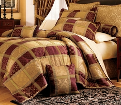 7 Piece Maroon Jewel Patchwork Comforter Comforter Set Full