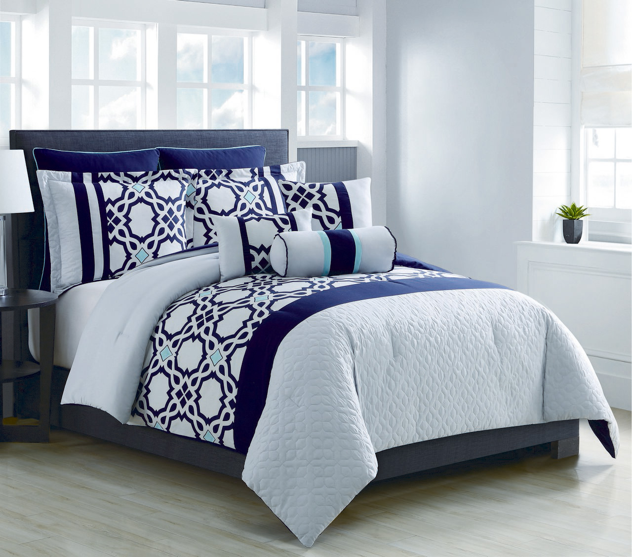 8 Piece Anabel Navy Aqua Silver Comforter Set King