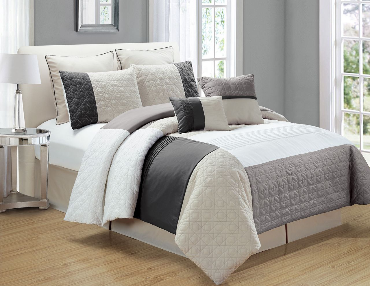dsc sets comforter looks bedding ivory overfilled oversized in save striped solid reversible set and emboss