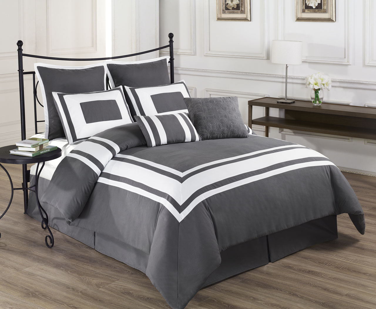 Grey bedding sets full size bedding sets collections for Complete bedroom sets with mattress