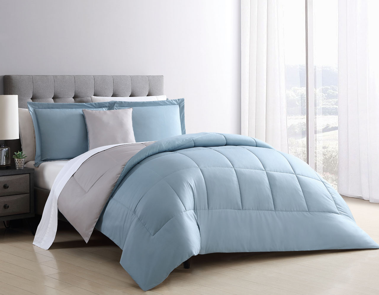 8 Piece Carter Blue/Stone Reversible Bed In A Bag Set