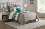 8 Piece Catalina Turquoise/Taupe/Ivory Comforter Set