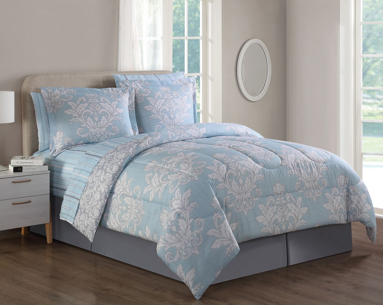 8 Piece Culpeper Light Blue Comforter Set Queen
