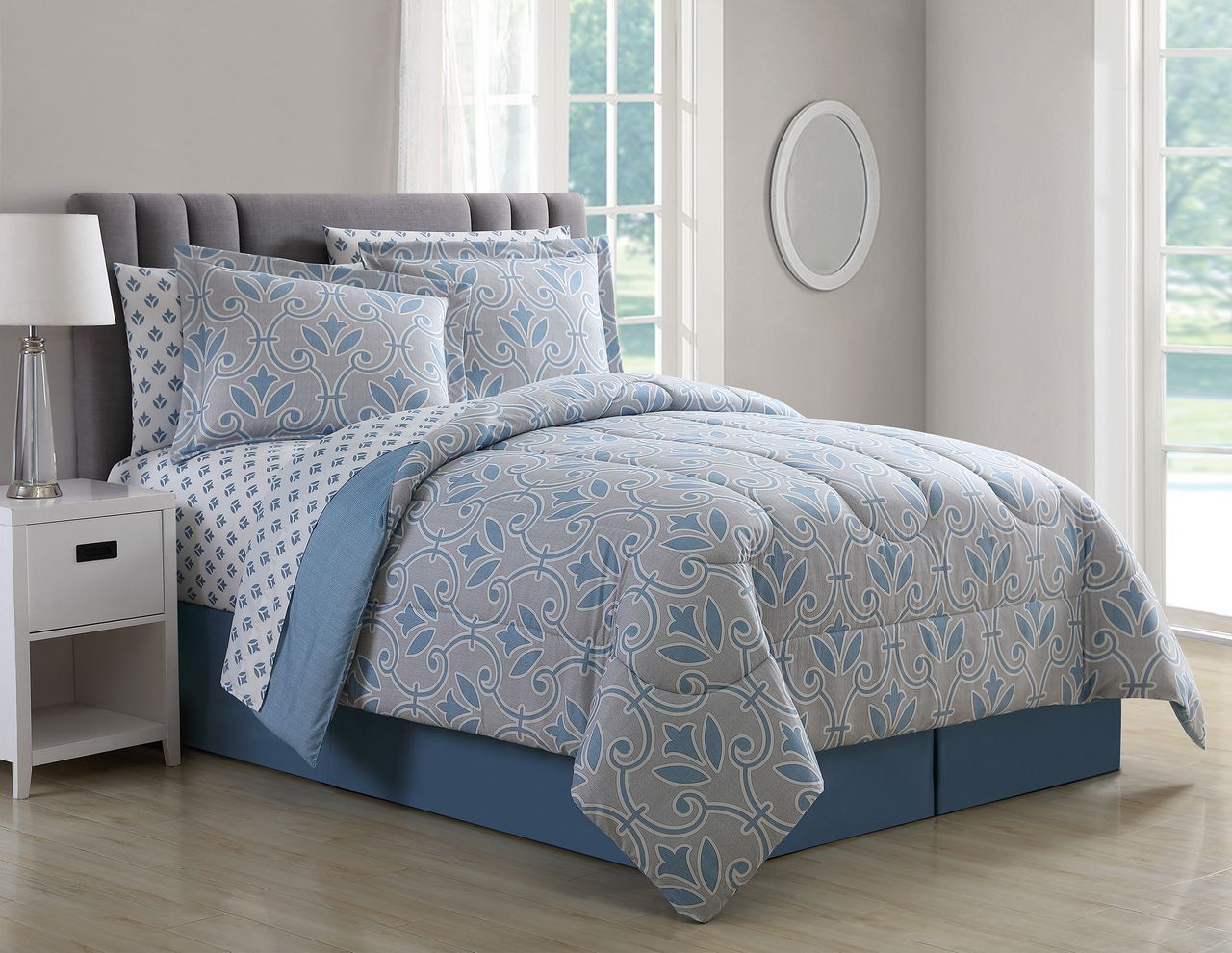 8 Piece Daventry Denim Blue/Taupe Comforter Set with Sheets Cal King