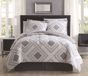 8 Piece Harwich Stone/Gray Reversible Comforter Set with Sheets