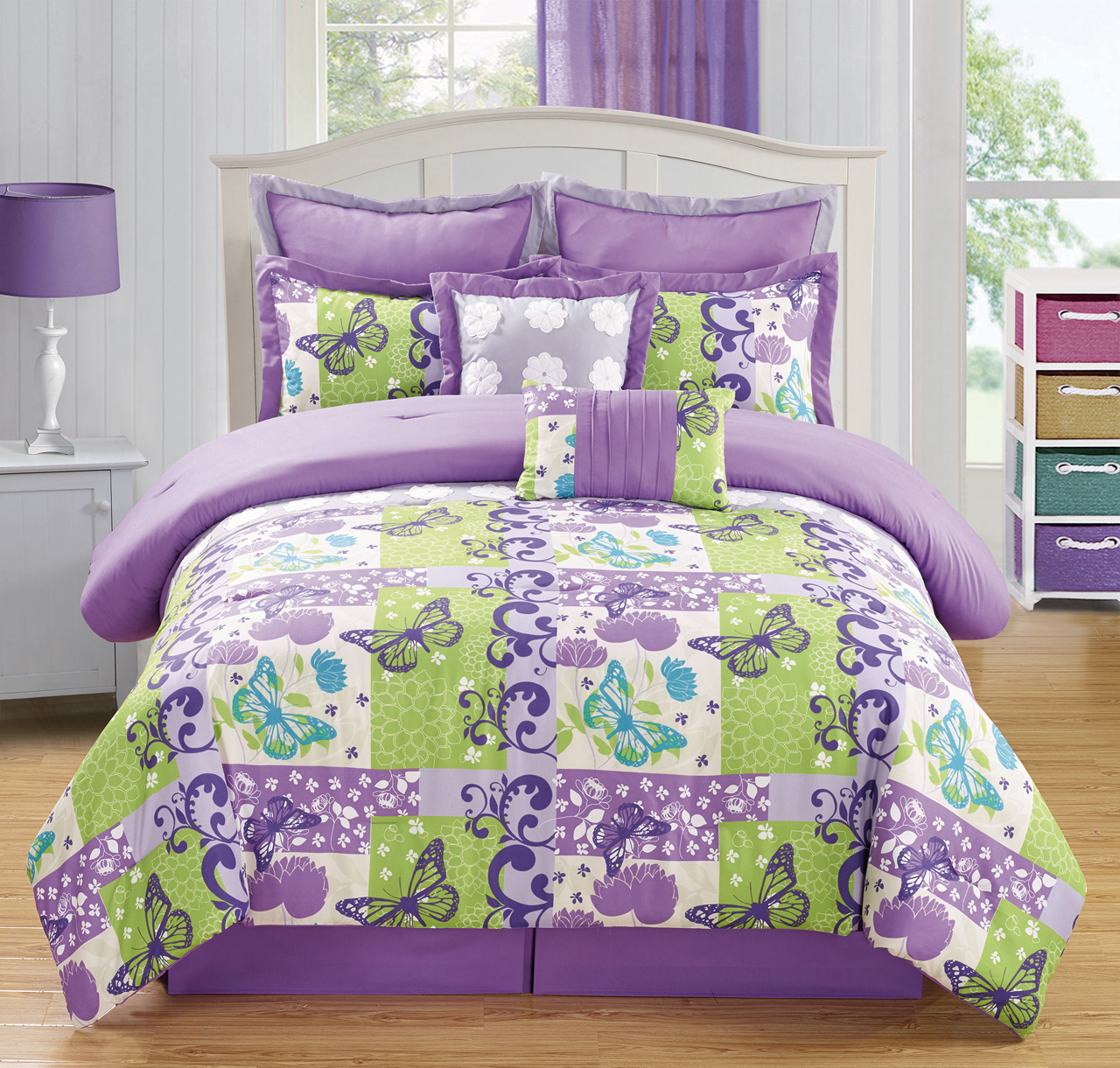 8 piece butterfly purple green comforter set - Green and purple comforter ...