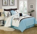 8 Piece King Evie Leaf Embroidered Comforter Set
