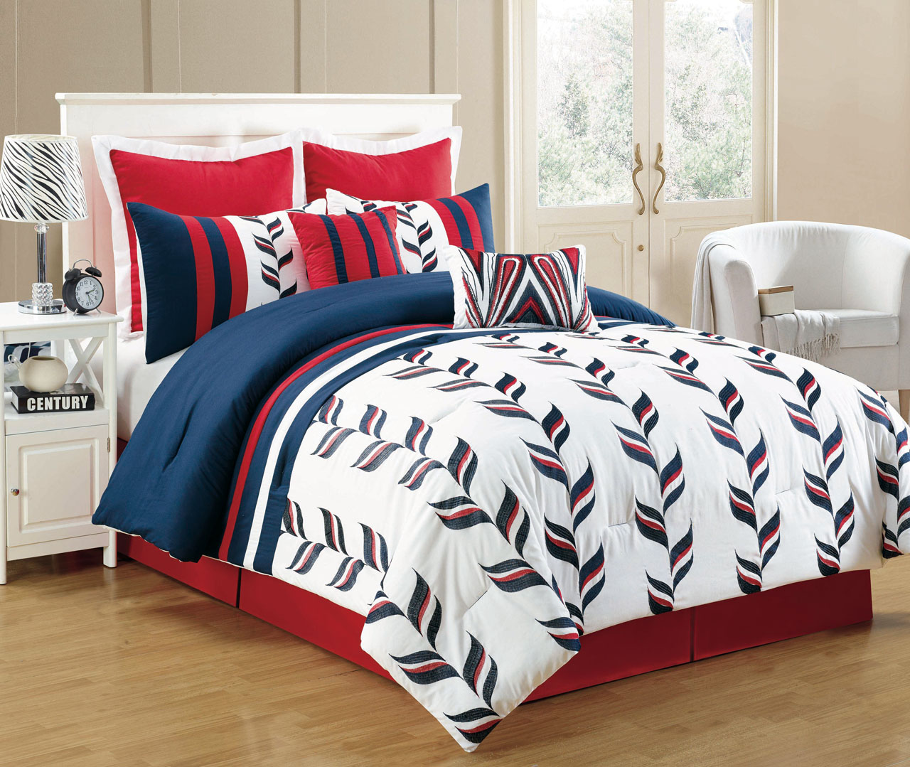 8 Piece Fusion Red And Blue Comforter Set