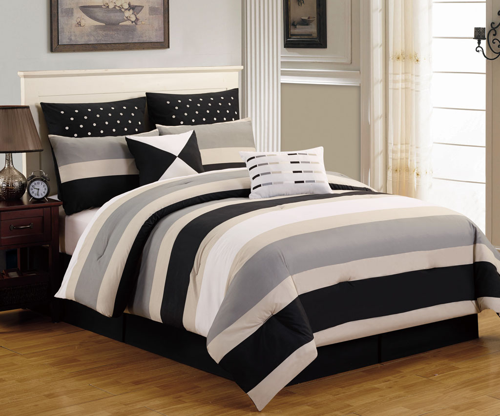 8 piece king preston black and gray comforter set