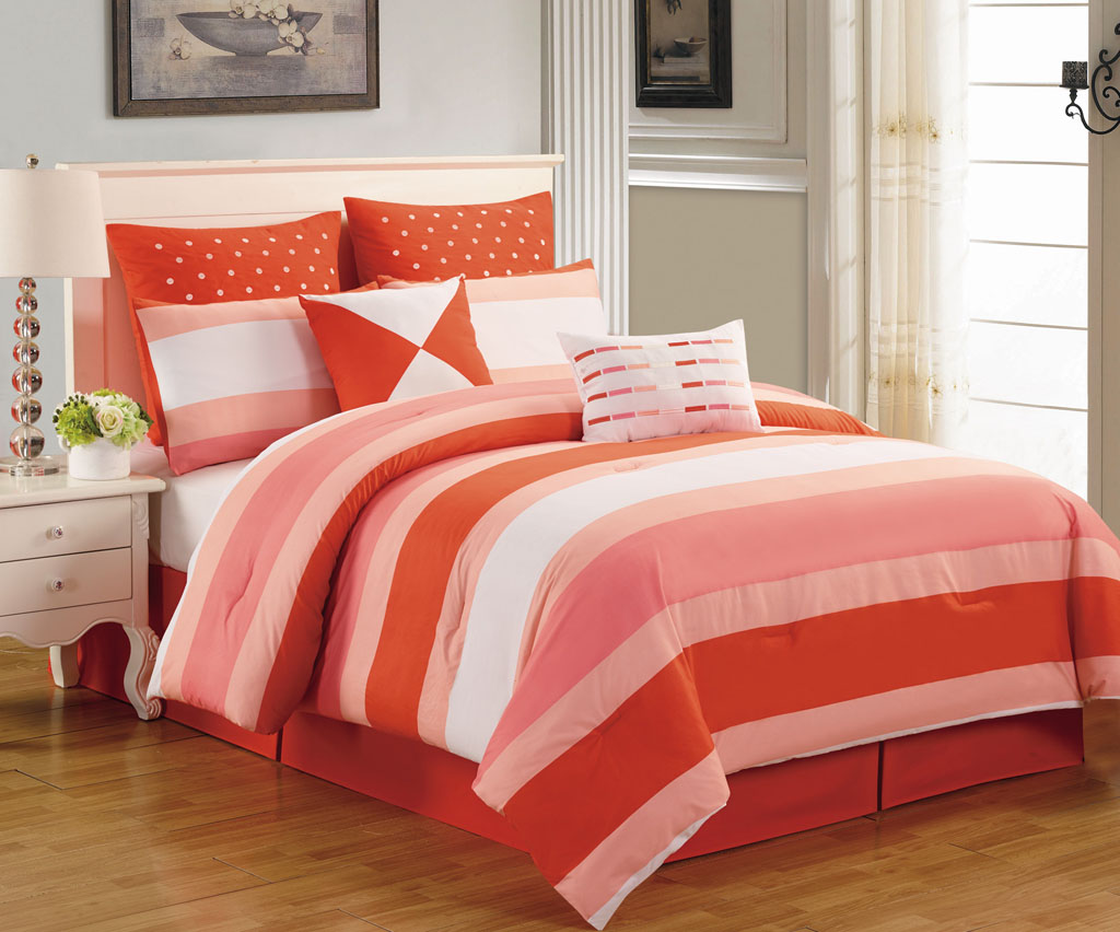 8 Piece Preston Coral And Pink Comforter Set