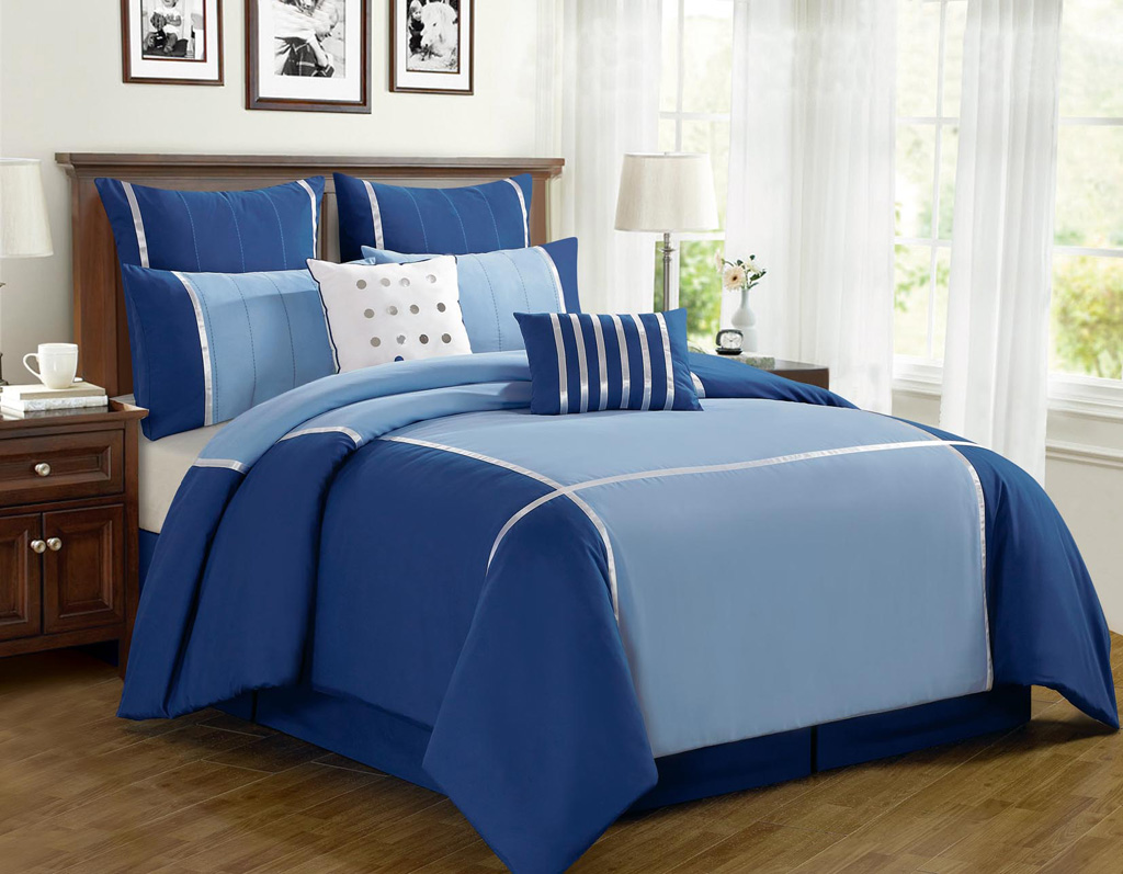 8 piece king vienna blue comforter set