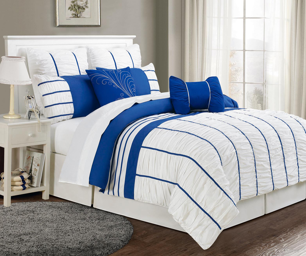 Charmant 8 Piece Cal King Villa Blue And White Comforter Set