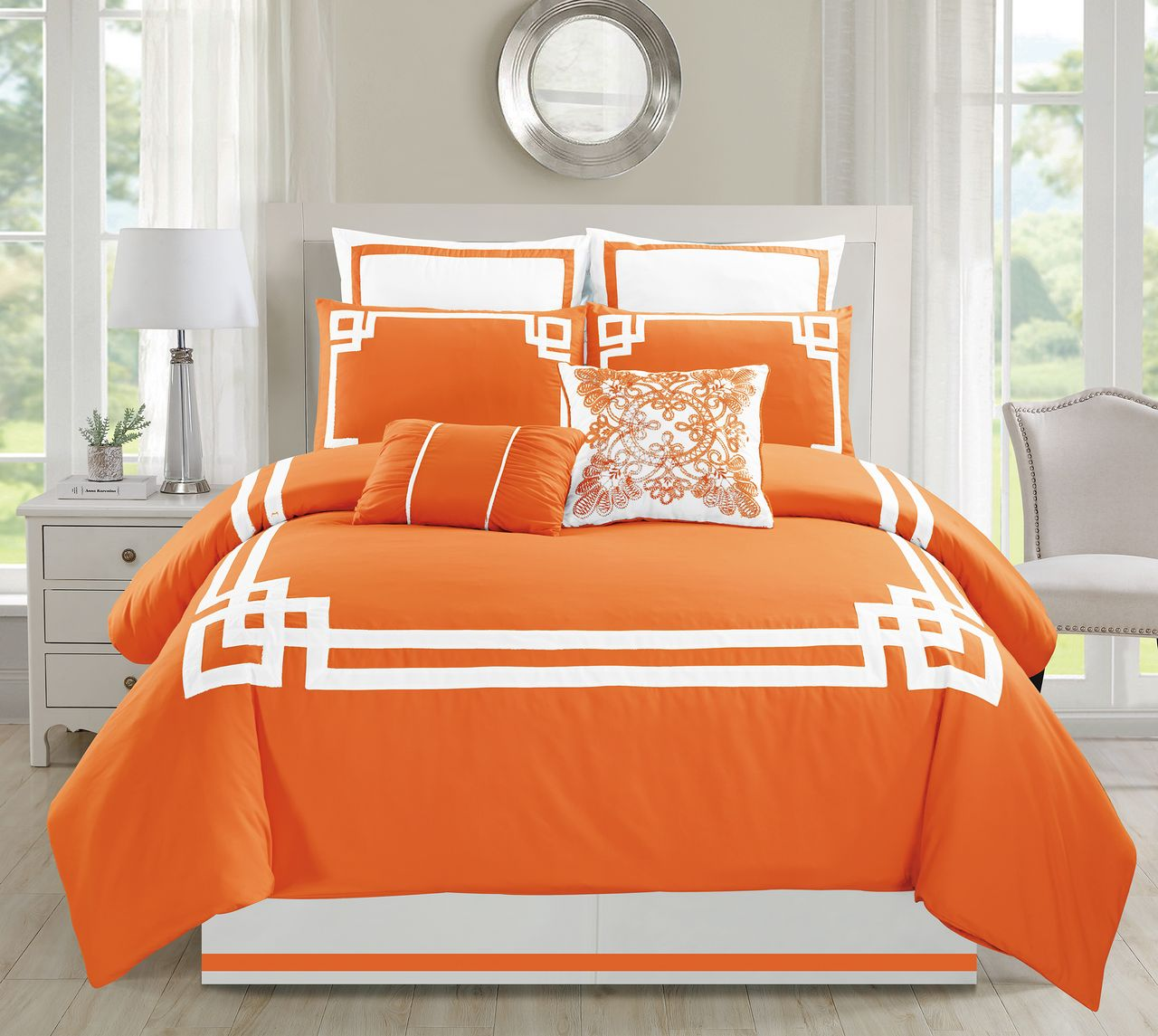 8 Piece Lucca Orange Comforter Set