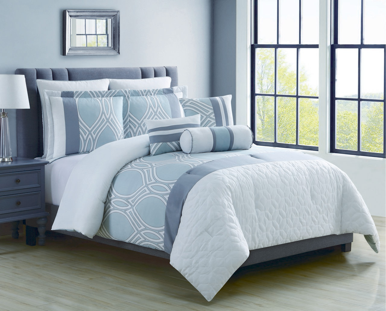 8 piece madlyn ice bluewhite comforter set king