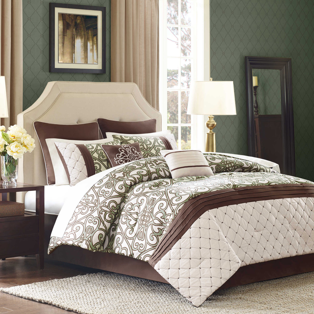 purple sets and queen comforter brown green foodhabits king sage size info