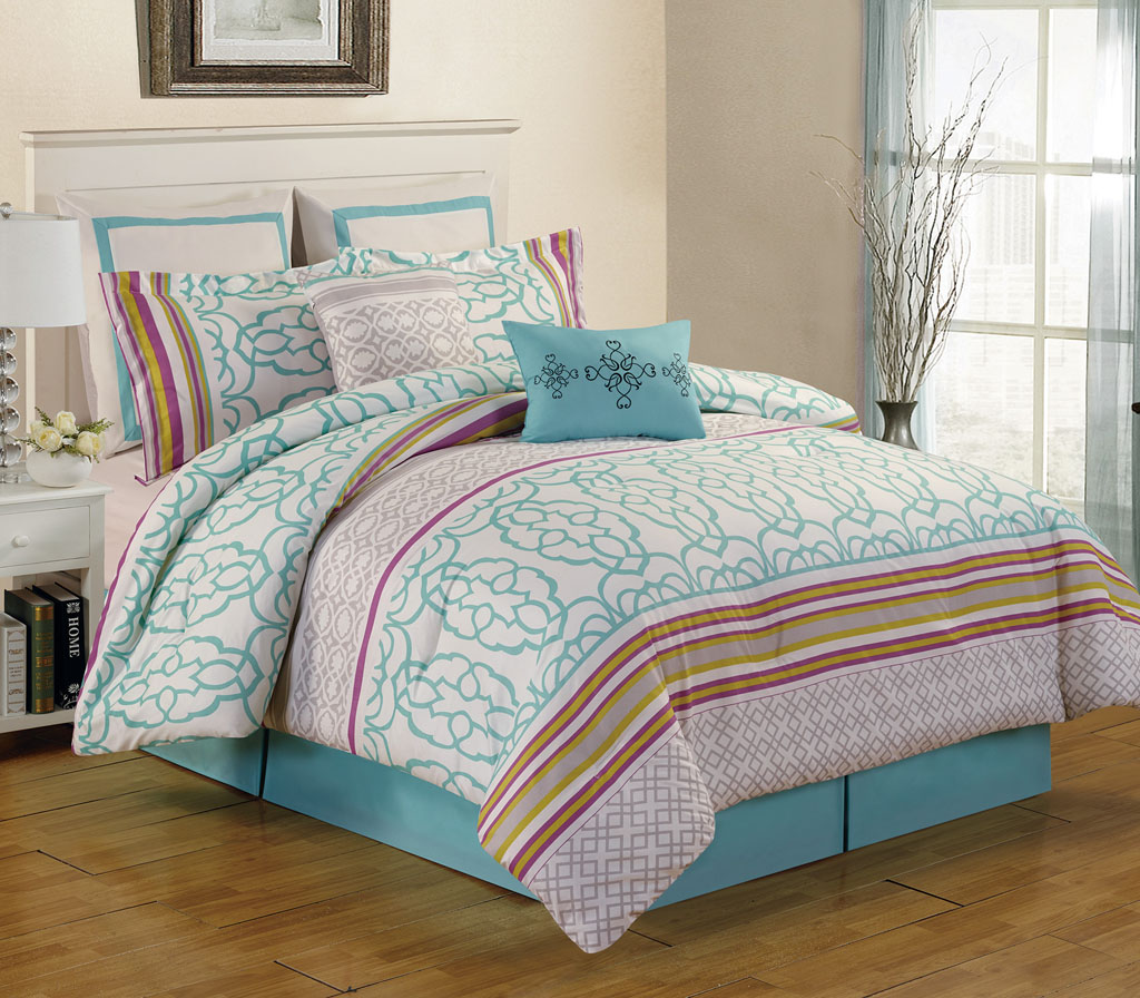 8 piece arvada teal comforter set Teal bedding sets
