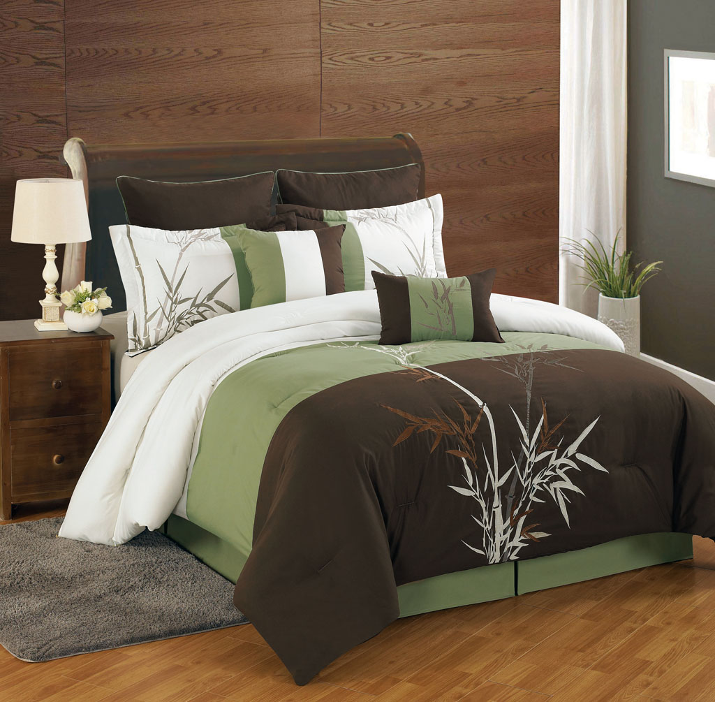 Charming 8 Piece Queen Bamboo Embroidered Comforter Set