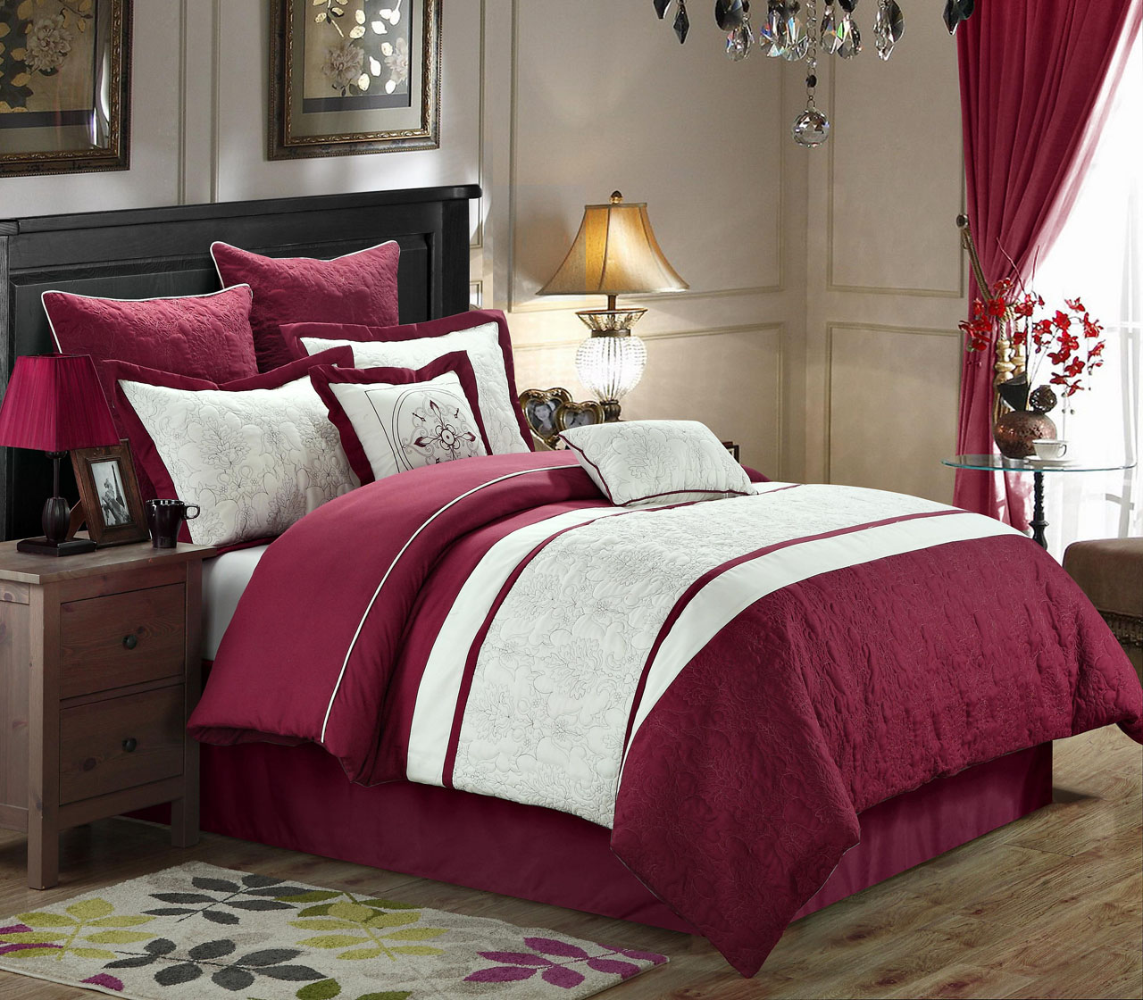 8 Piece Caesar Burgundy White Comforter Set