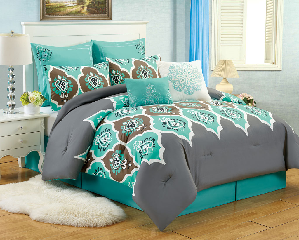 8 pc teal grey ogee queen comforter set boho gray blue Teal bedding sets