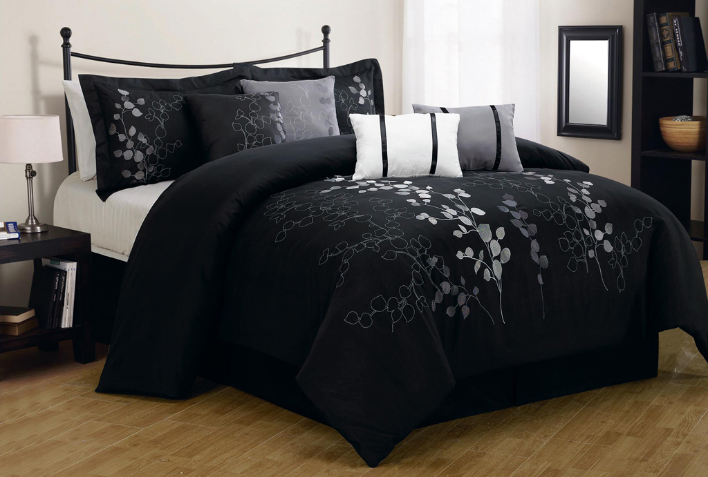 black comforter sets queen 8 Piece Queen Gatsby Black and Silver Embroidered Comforter Set black comforter sets queen