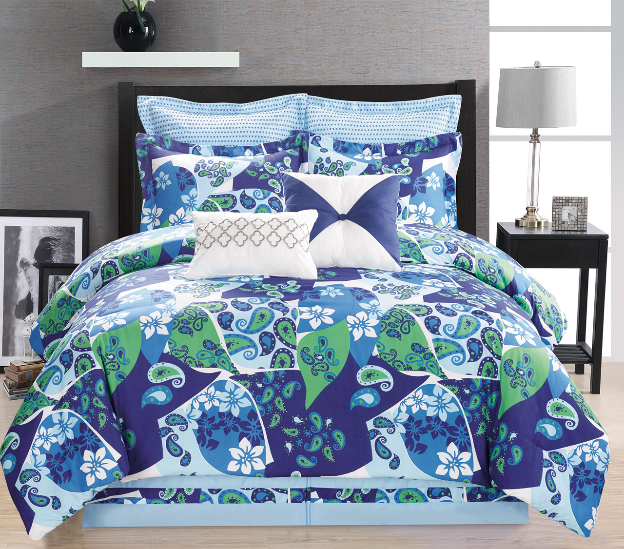 8 piece paisley blue green white comforter set - Blue and green bedding sets ...