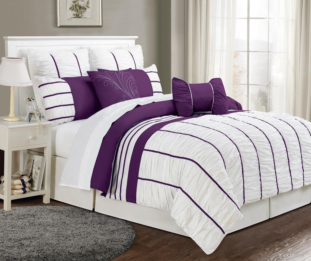 Piece Queen Villa Purple And White Comforter Set
