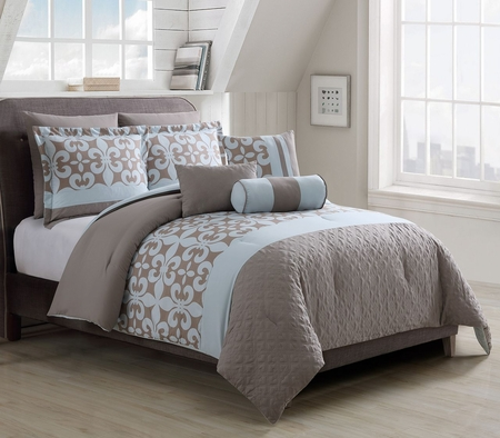 8 Piece Rebecca Bone/Blue Comforter Set