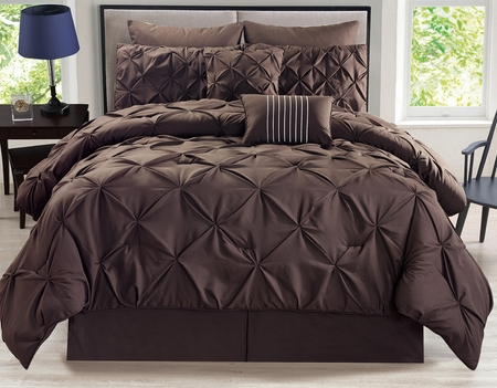8 Piece Rochelle Pinched Pleat Coffee Comforter Set